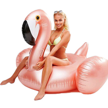 2017 Ny Style Uppblåsbara Flamingo Rose Pink 60 tums Pool Float Ride-On Swimming Ring Vuxen Barn Water Holiday Party Leksaker