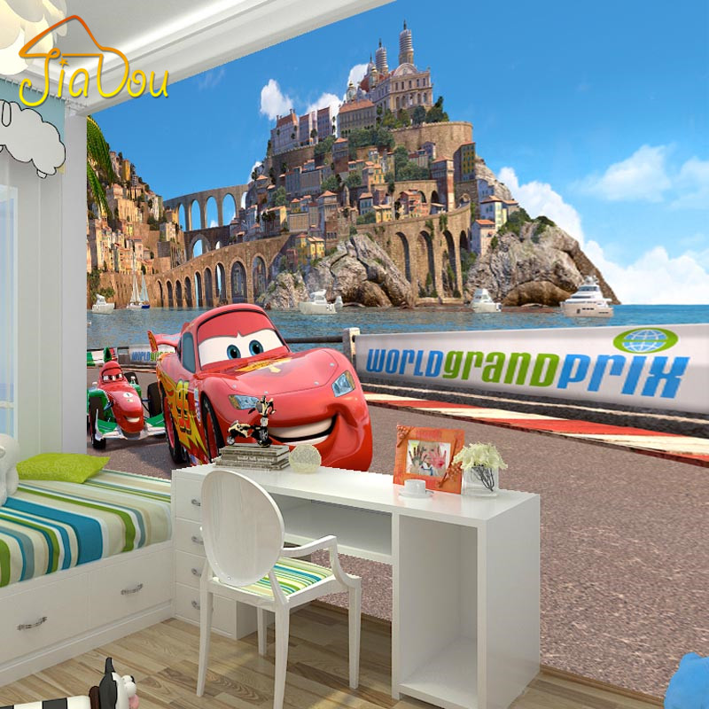 Custom mural wallpaper 3d car cartoon boys and girls for Car wallpaper mural
