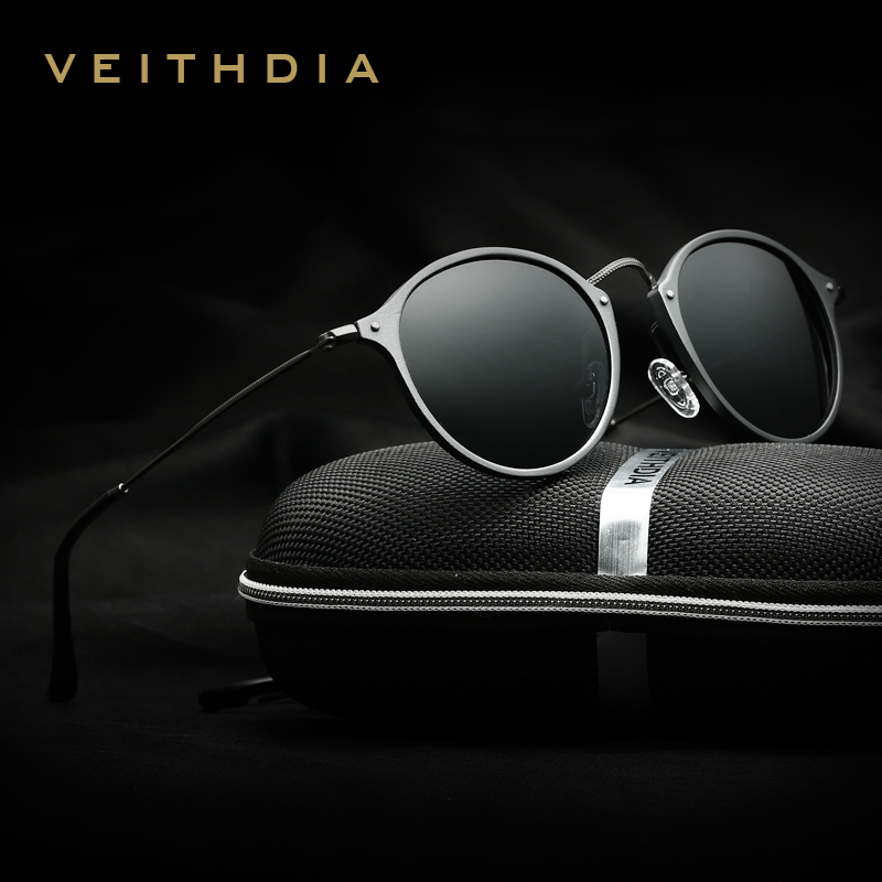 Veithdia Brand Round Polarized Sunglasses Unisex Coating Mirror Driving Sun Glasses High Quality For Men Women