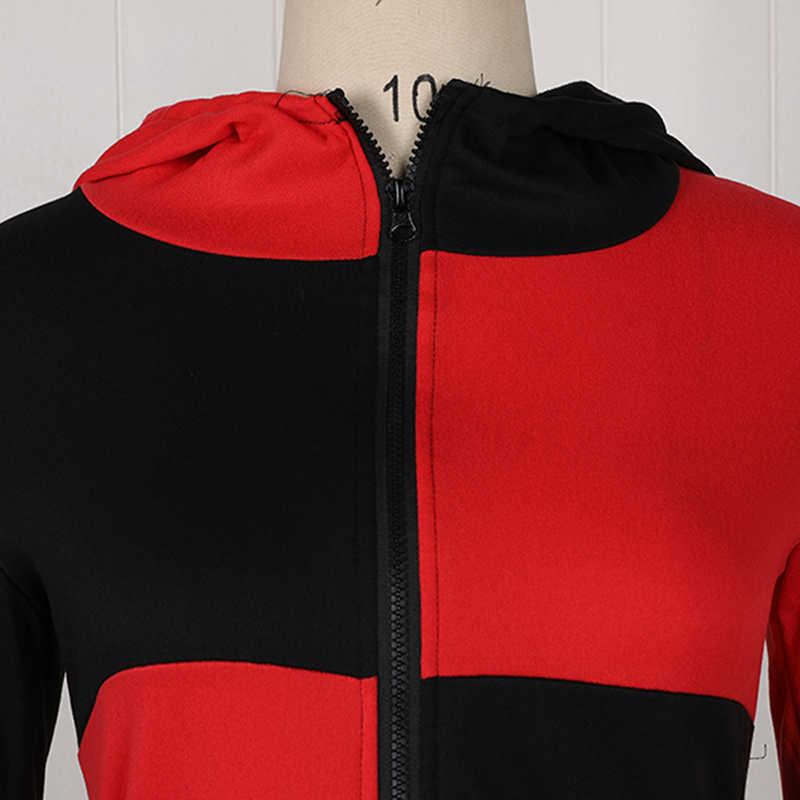 Rosetic Gothic Hooded Women Oversize Autumn Hooded Red Splice Black Gothic Coat Dark Red Women Patchwork Full Sleeves Hoodies