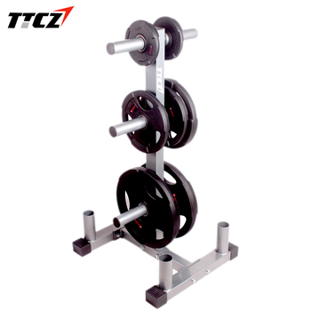 Vertical Olympic Bumper Plate Rack and Bar Holder strength training