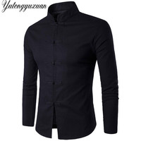 Retro Shirts 2017 Men Slim Fit Cotton Linen Mandarin Collar Wedding Shirt Casual Long Sleeve Chinese