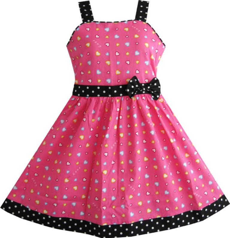 Sunny Fashion Girls Dress heart print pink Kids Children Clothes 4-12 Christmas Party Girl Summer Princess Dresses Vestidos