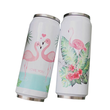 New Flamingo Pattern Thermos Beverage Can Stainless Steel Insulated Water Bottle Straw Thermo Garrafa Termica Termos 500ml