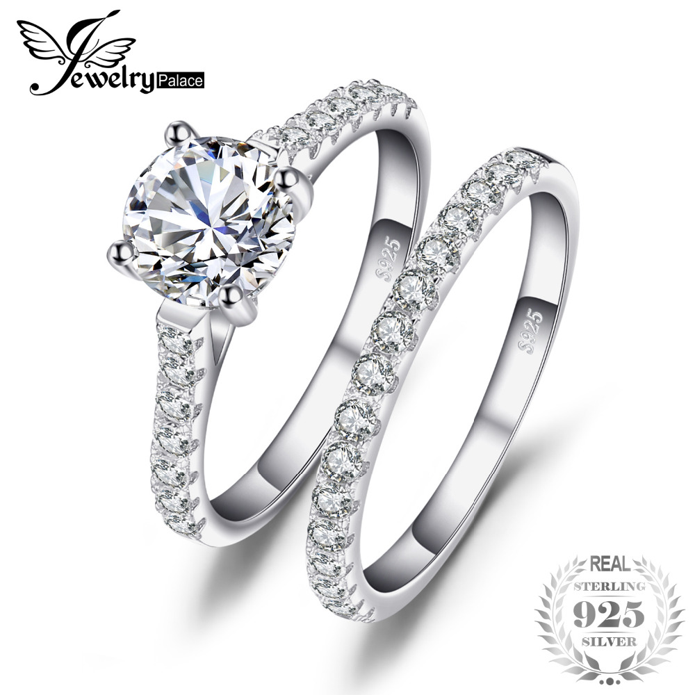 JewelryPalace Wedding and Bridal Cubic Zirconia Solitaire Ring Set 925 Sterling Fine Jewelry For Women Birthday Present For Mom