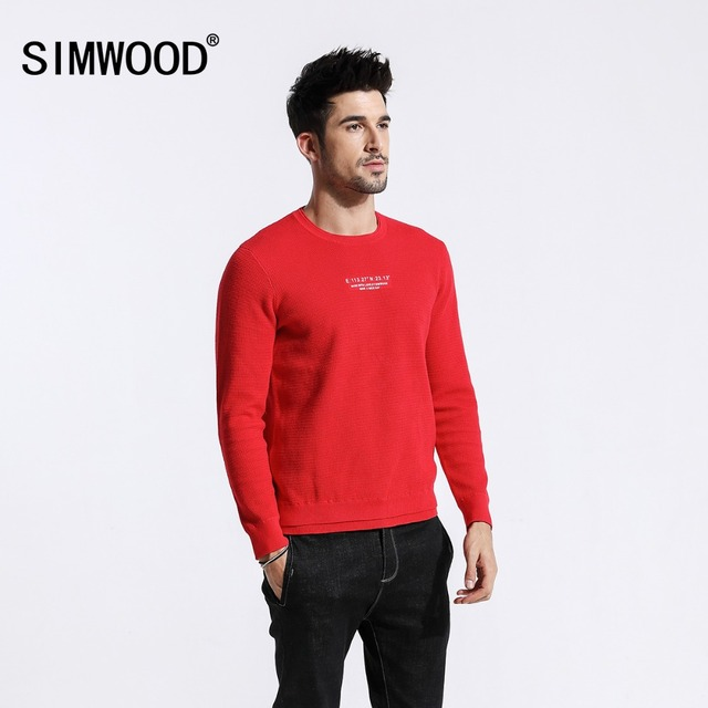 SIMWOOD 2018 Autumn New Thin Sweater Men 100% Cotton Print Fake Double Layer Design Winter Fashion Pullover High Quality 180441