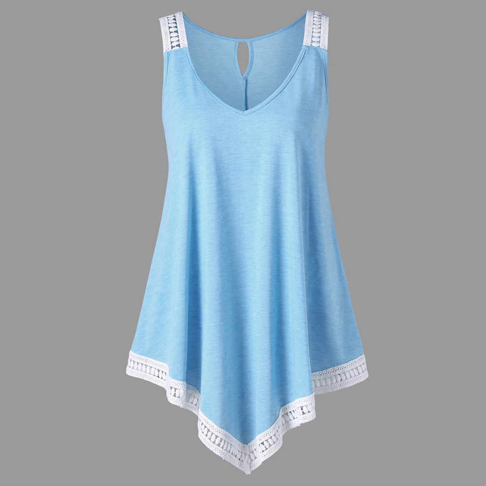 Feitong Summer Swing Lace Irregular V-Neck Blouse Fashion Women Tunic Tee Top Lady Shirt Casual Sleeveless Blouse Female Blus