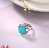 KJJEAXCMY S925 sterling silver, Tianhe stone rose mosaic ring, Korean temperament, mosaic chrysanthemum lady's silver open ring