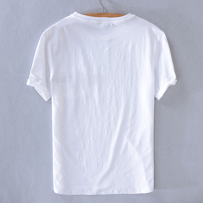 New brand Italy style short sleeve t shirt men linen casual white summer t-shirt mens fashion O-neck tshirt male tops camisa
