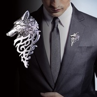 ZheJia Mens Brooch Mens Suit Collar Pin Buckle Domineering Wolf Head Barb Pin Buckle Personality Brooch Retro brooch Wolf Style bronze