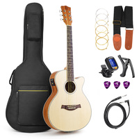 36 inch 3/4 Size Travel Guitar Spruce Wood Cutaway Acoustic Electric Folk Guitar with Guitar Kit