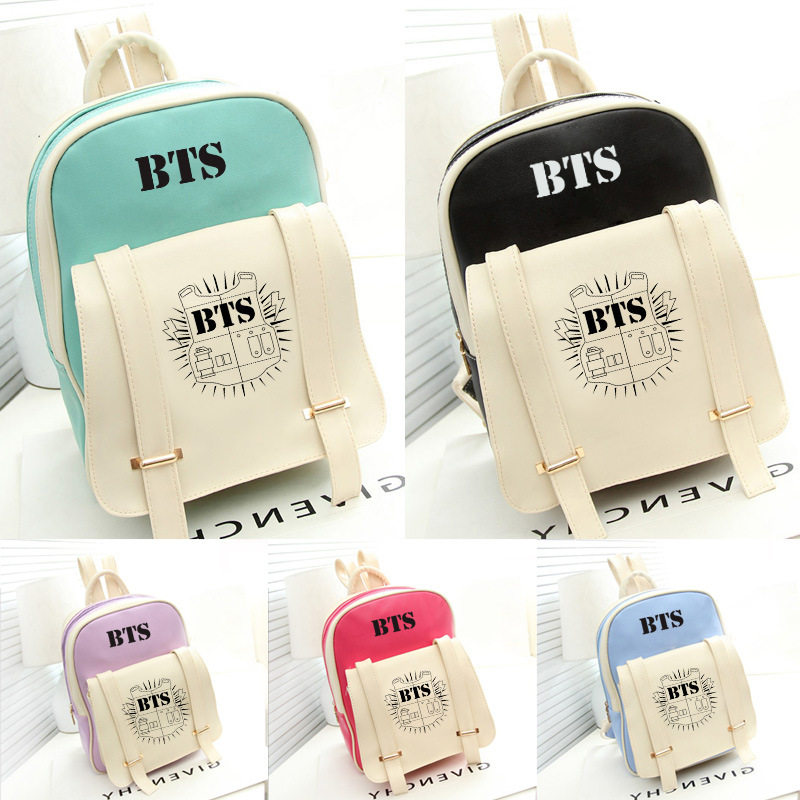 New Korean Kpop Bangtan Bts Pu Backpack Mochila Bag Preppy Style Student Girls Schoolbag Women Backpacks For Teenage