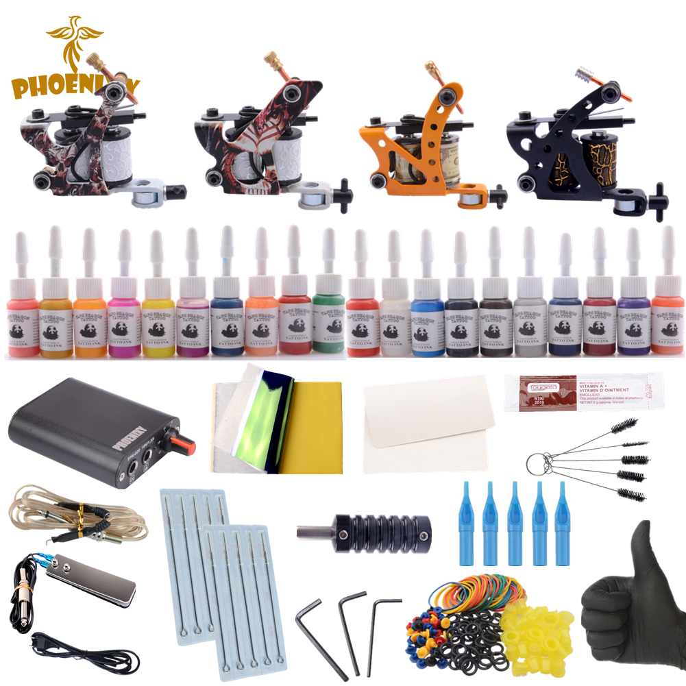 Professional Complete Tattoo Kit Tattoo Machine 4pcs Liner Shader Tattoo Gun 20 Color Immortal Tattoo Ink Set Power Box Grip Tip professional 1 bottle tattoo ink for lining and shading newest tribal liner shader pigment black newest 249ml drop shipping