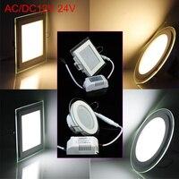 6W 9W 12W 18W 24W 12V/24V 라운드/스퀘어 유리 LED 통 Recessed LED 패널 빛 따뜻한/자연/차가운 흰색