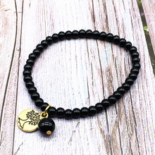 Women Bracelet Onyx Stone 4 mm Charm  Girls Bracelets 18 cm Hand Make Bead Jewelry 2019 New Hot Sale