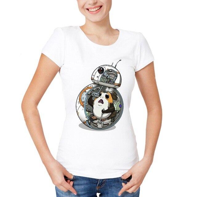 The Last Porg T-Shirt Summer Cute Women T-shirt Star Wars Porg Printing Ladies Tops Hipster Lovely Lady Short Sleeve Tee