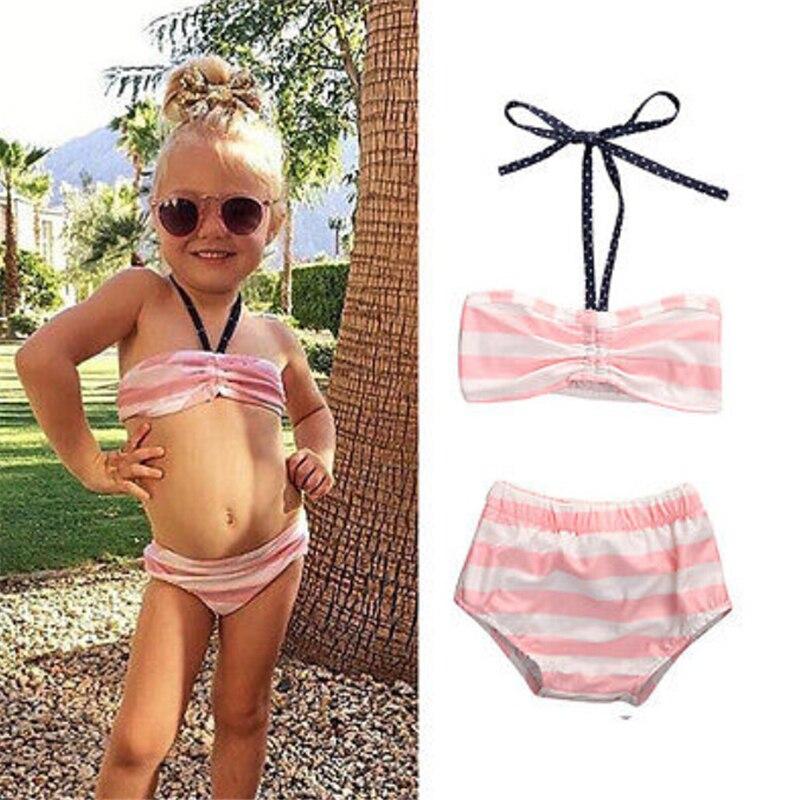 Dziewczynek stroje kąpielowe ubrania zestawy różowy pasiasty - Ubrania dziecięce - Zdjęcie 1
