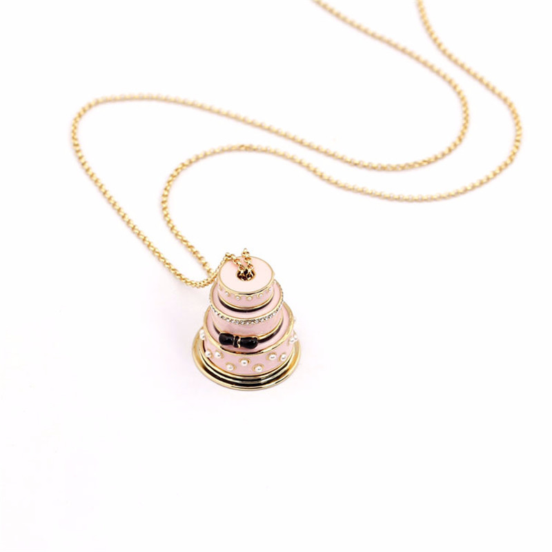Europe and the United States Happy Lover Stacked Necklace Three Pink Cake Pearl Gem Bow Sweater Chain europe and the united states green paint flower pearl necklace bracelet brooch earrings for women jewelry
