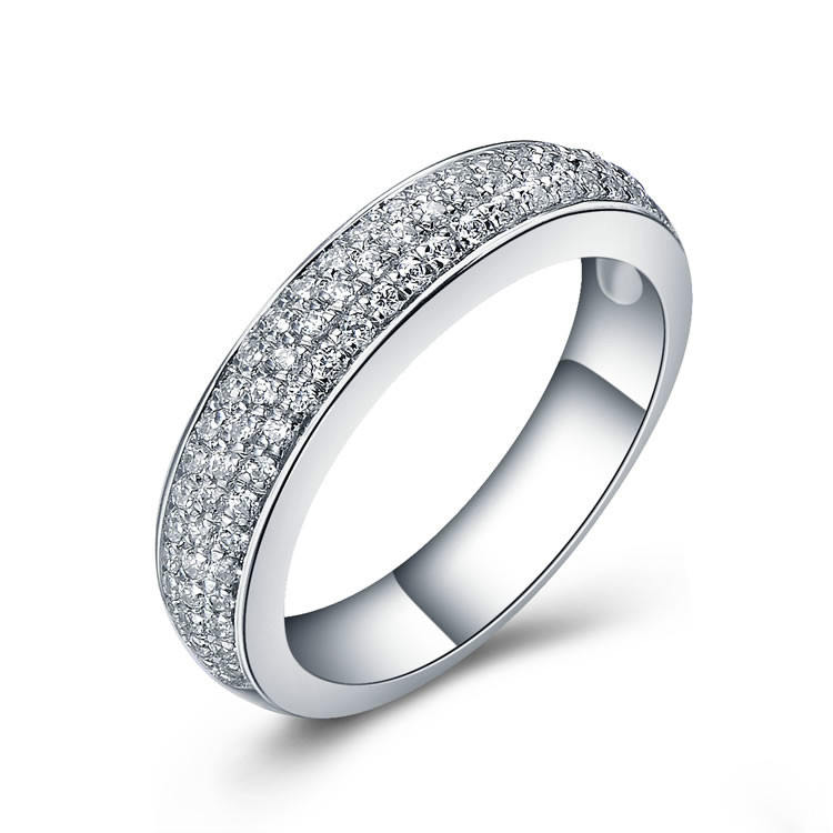 luxury paved 3 line jewelry diamond band ring for women sterling silver jewelry bridal pt950 stamped