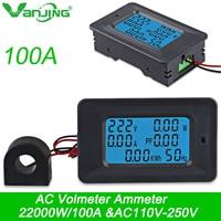 AC22KW 100A 85 ~ 250 V Voltímetro Digital Amperímetro Tensão Atual Medidor de Potência de Energia Ampères Wattímetro Volt Tester Detector