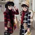 Осенние и зимние дети утолщенной меховой воротник пальто шерсти шерстяные одежда девочки в возрасте 7-16