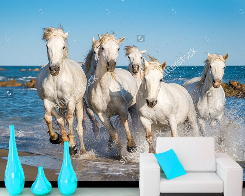 Custom home decoration wall,Horses galloping through water in sunset light,3D photo mural for living room bedroom sofa wall