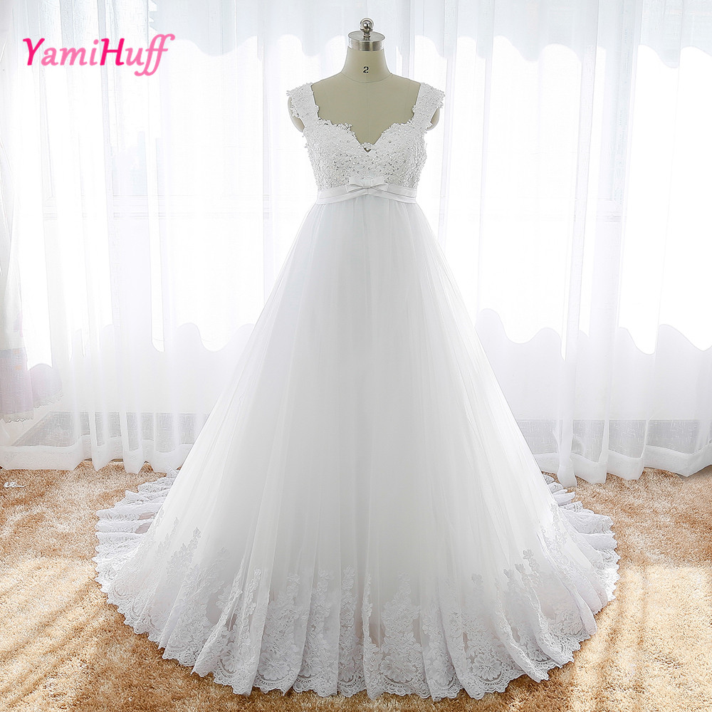 Sexy wedding dress for pregnant women cap sleeve v neck for Wedding dress for pregnant woman