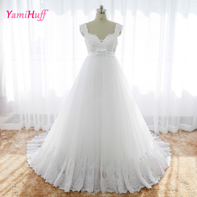 Sexy Wedding Dress For Pregnant Women Cap Sleeve V Neck Vintage