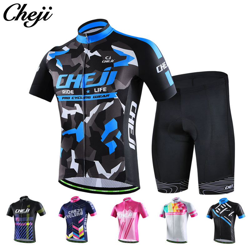 2017 CHEJI Men's Cycling Wear Short Sleeve Jersey Shorts Set Pro team Cycle Clothes mtb road Bike Shorts Set Maillot de cyclisme cheji jersey shorts