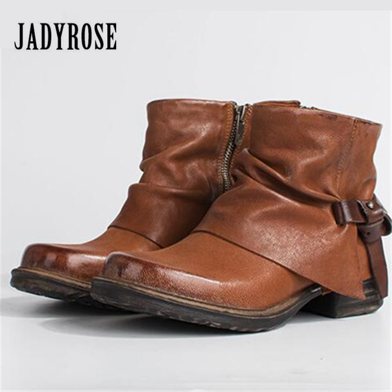 Jady Rose Vintage Brown Women Ankle Boots Side Zipper Straps Genuine Leather Casual Short Botas Female Platform Martin Boots jady rose vintage red women ankle boots side zipper straps genuine leather short botas autumn winter female platform martin boot