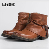 Jady Rose Vintage Brown Women Ankle Boots Side Zipper Straps Genuine Leather Casual Short Botas Female Platform Martin Boots