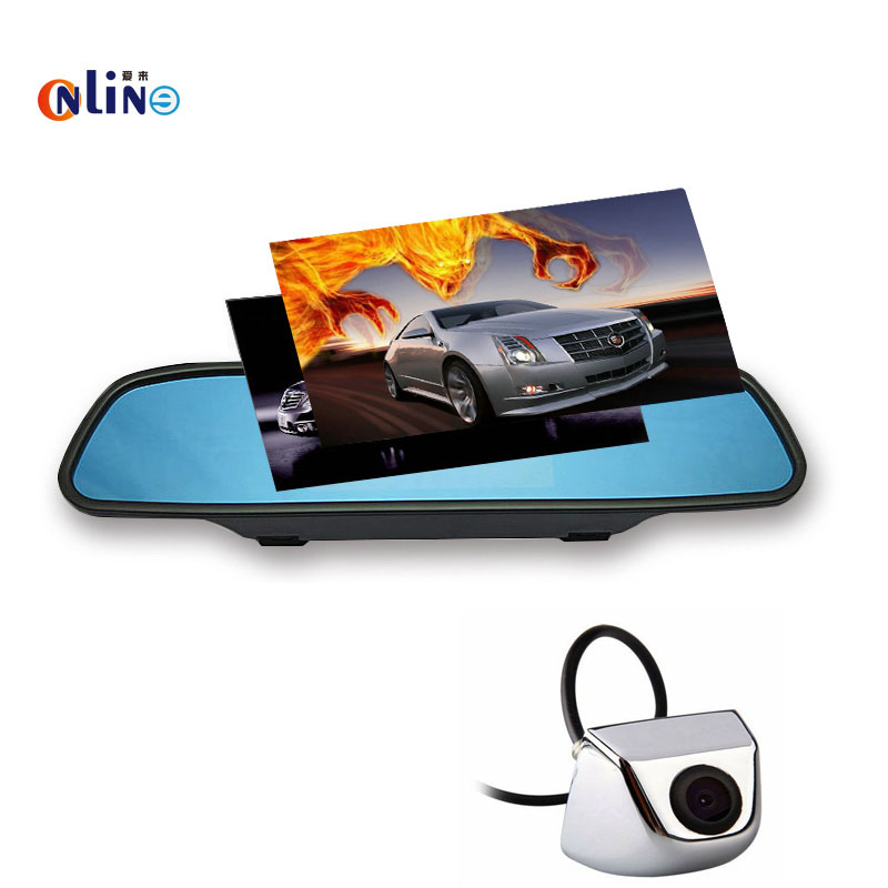 Online / 5 inch HD 800*480 Car Mirror Monitor Sun visor 2ch Video Input +SUV/Truck/Car CCD Mini waterproof Rear vehicle camera