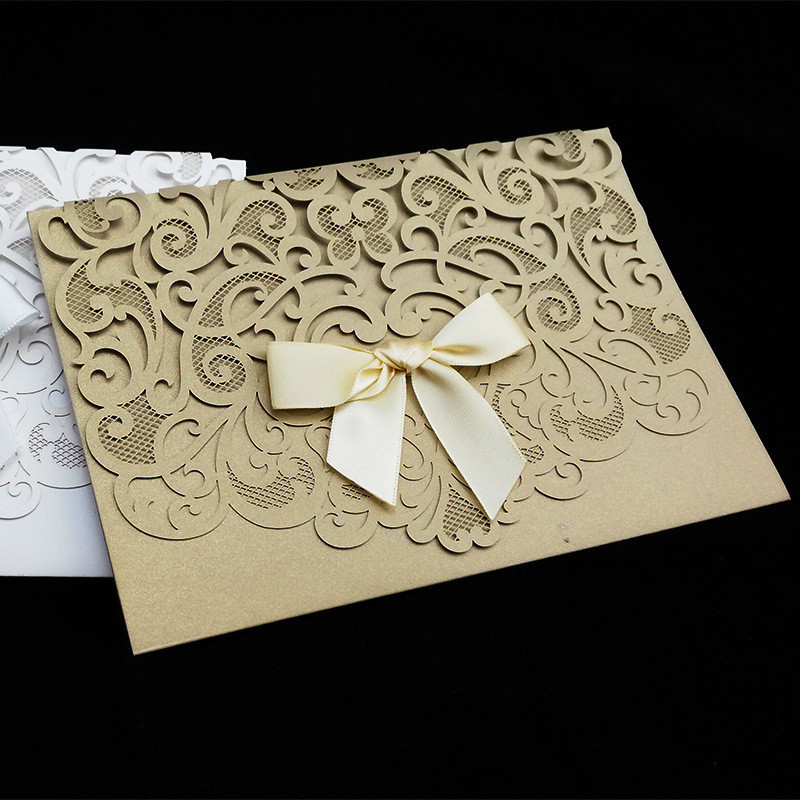 50pcs/pack Luxurious Elegant Wedding Invitation Cards Hollow Flower Ribbon Bow Birthday Party Card Greeting Cards With Envelope 50pcs gold red laser cut hollow flower marriage wedding invitation cards 3d card greeting cards postcard event party supplies
