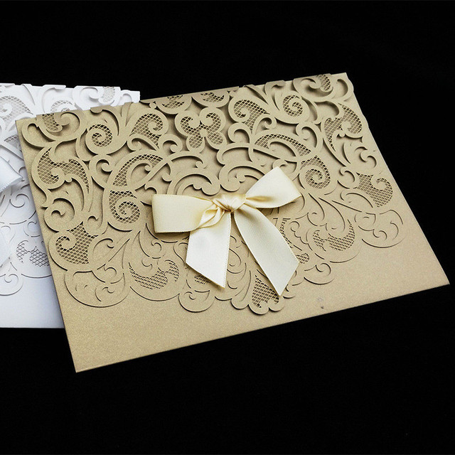 50pcspack Luxurious Elegant Wedding Invitation Cards Hollow Flower