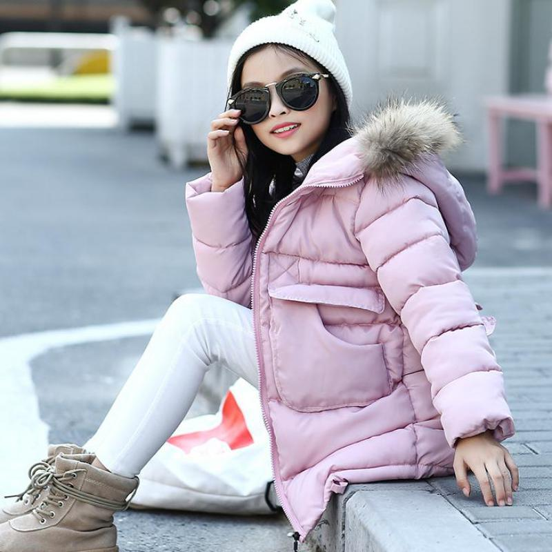 2017 Winter Down Jacket For Girls Brand Thick Long Warm Girls Winter Coat Kids Teenage Girls Outerwear Clothes Snowsuits 13 14 T russia winter boys girls down jacket boy girl warm thick duck down