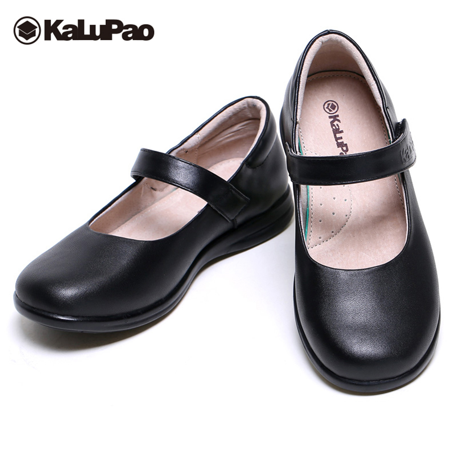 2609a5badf2ae US $25.21 34% OFF|Kalupao kids school full grain leather shoes for girls  leather dress shoes Girls flat with footwear 2019 wedding shoes girl-in ...