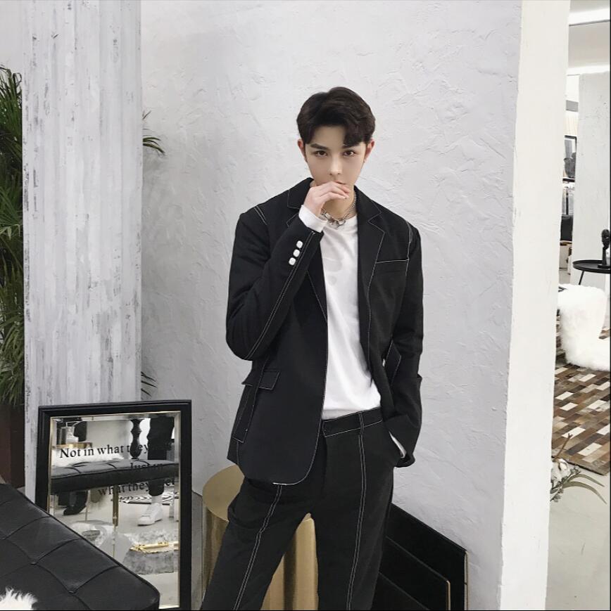 Hommes Vêtements Automne Costumes tops Noir Mince Petit Marée gris De angleterre Ensembles Et blanc Marque Pantalon Chanteur Scène Costume Printemps Nouvelle Boucle Unique t6Rw6Ozq