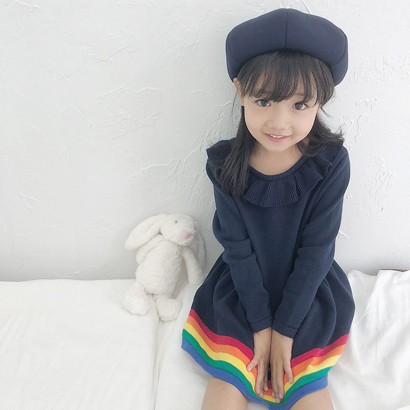 baby girl clothes winter 100% cotton long sleeve children kids knitted dress autumn spring winter rainbow cute clothing spring autumn cute baby kids girls party dress kids clothes cotton toddler girl clothing long sleeve baby girl princess dress