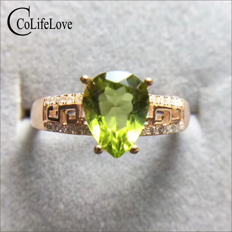 Natural pear cut peridot silver ring for party 7 mm * 9 mm 2 ct VVS peridot ring solid 925 sterling silver peridot jewelry foxriver носки лыжные 5998 vvs mv ski черный page 7