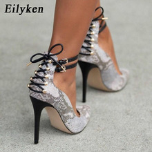 Eilyken 2019 New Summer Fashion Rivet White Serpentine Pumps