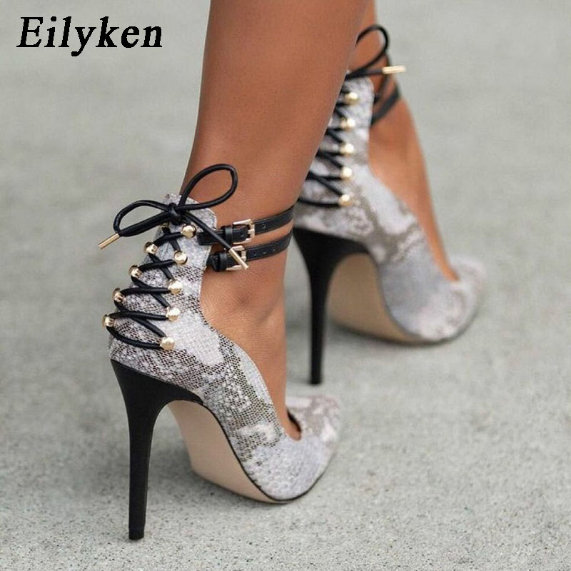 Eilyken 2019 New Summer Fashion Rivet White Serpentine Pumps Pointed Toe Buckle Strap Thin Heel 11.5CM Woman Pumps Shoes