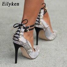Eilyken 2020 New Summer Fashion Rivet White Serpentine Pumps Pointed Toe Buckle