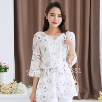 Lace Chiffon Blouse 2015 New Summer Plus Size Flower Print Women Shirt Tops Vintage Tunic Kimono