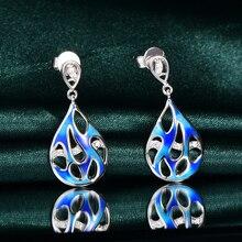 Фотография RainMarch Blue Enamel Silver Stud Earrings For Women Wedding 925 Sterling Silver Earring Bohemian Party enamel Jewelry