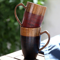 320ml Hand Made Wood Coffee Mug With Heart Handle Novelty Wooden Tea Cups Red Black Colored