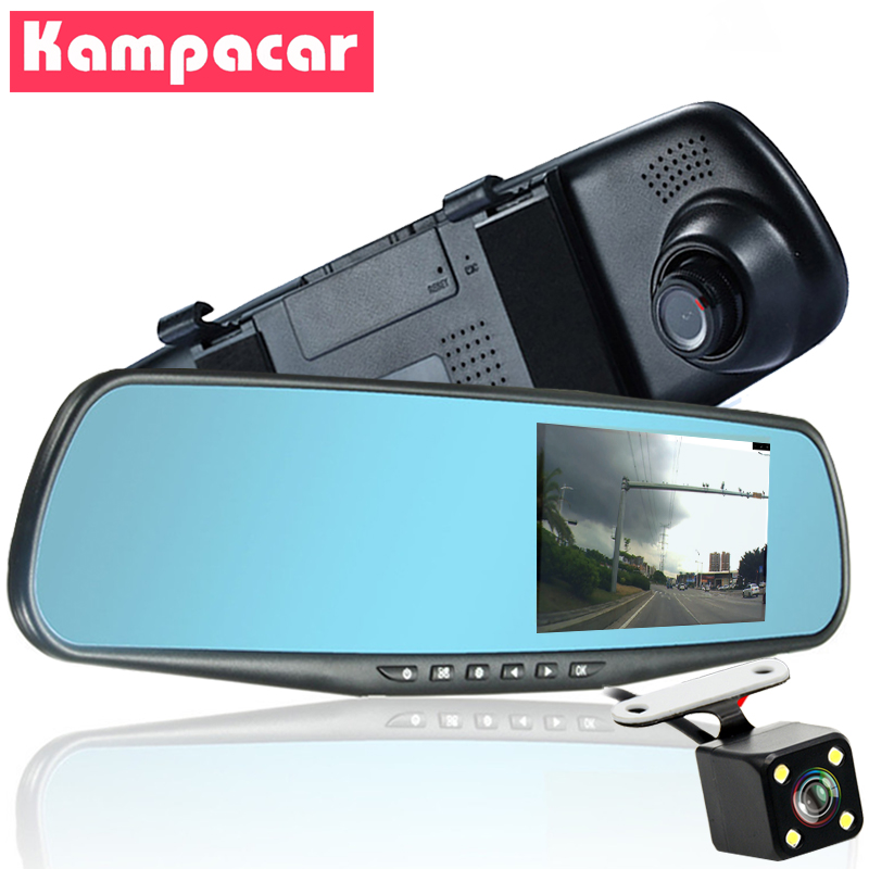Kampacar Full HD 1080P Rearview Mirror 4.3 Inch Screen For <font><b>Cars</b></font> Dvrs <font><b>With</b></font> <font><b>Two</b></font> <font><b>Cameras</b></font> Auto Registrar Video <font><b>Car</b></font> <font><b>Dvr</b></font> Dual Dash Cam image