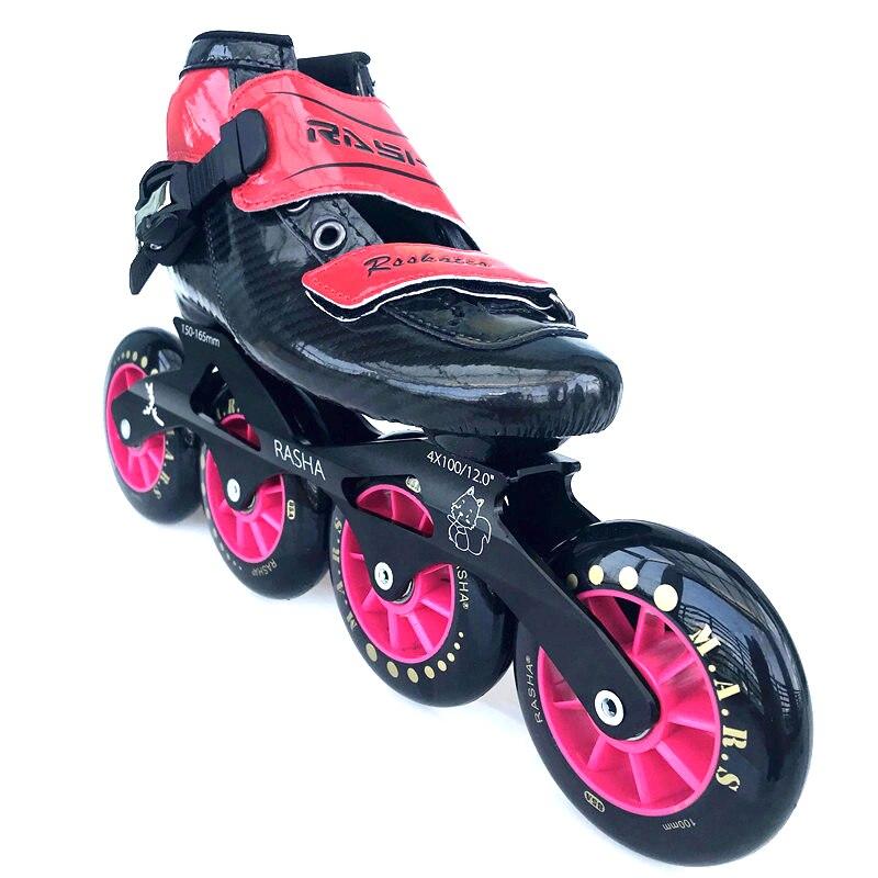 100% original RASHA patins de course patins de vitesse en ligne professionnels Patines à roulettes hommes enfants chaussures de patinage en ligne pour enfant