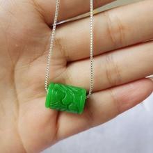 Yu Xin Yuan Fine Jewelry Natural Stem Green Jade Transport Bead Pendan