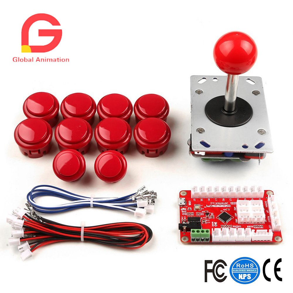 One Player Arcade Game DIY Parts Kit USB Encoder PC Joystick Retro Game DIY Kit for Raspberry Pi 3 RetroPie & Mame Jamma & Other