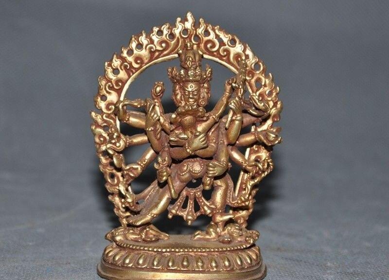 "5/""  Tibet Tantric Buddhism bronze 24k gold Gilt skull Dorje Vajra phurpa Dagger"